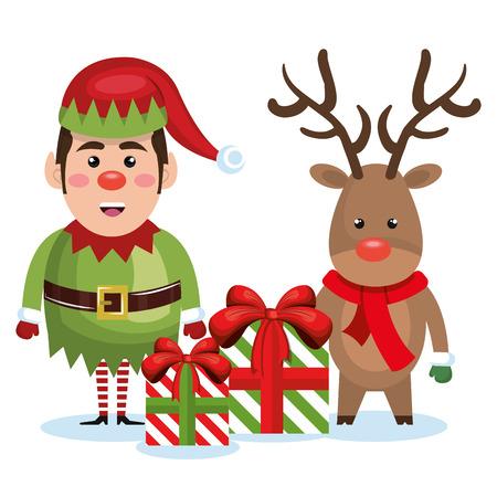 caribou: elf reindeer with gift box christmas vector illustration Illustration