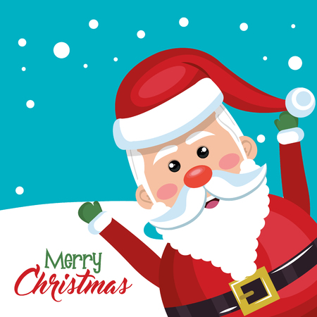 red nose: santa claus cheerful merry christmas vector illustration