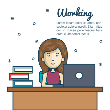 girl using laptop: cartoon woman working laptop desk design vector illustration Illustration