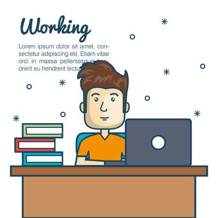 man with laptop: cartoon man working desk laptop vector illustration Illustration