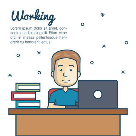 man with laptop: cartoon man working laptop workplace vector illustration