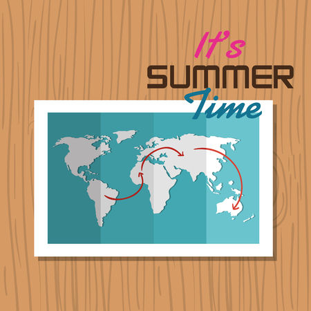 vacation map: postcard summer vacation map vector illustration eps 10