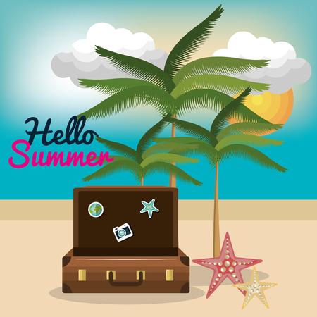 vacanze estive illustrazione vettoriale viaggio Vettoriali