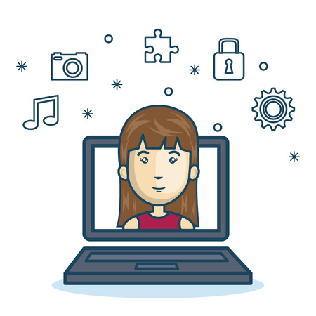 dating strategy: cartoon girl laptop screen design vector illustration Illustration