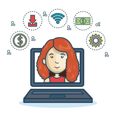 girl laptop: cartoon girl laptop screen design vector illustration Illustration