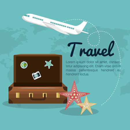 travel suitcase airplane design vector illustration