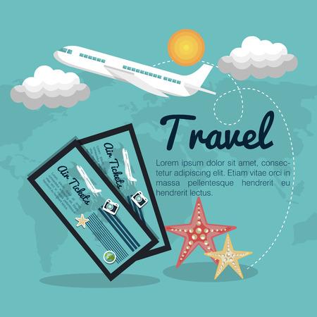 travel airplane tickets design vector illustration Illustration