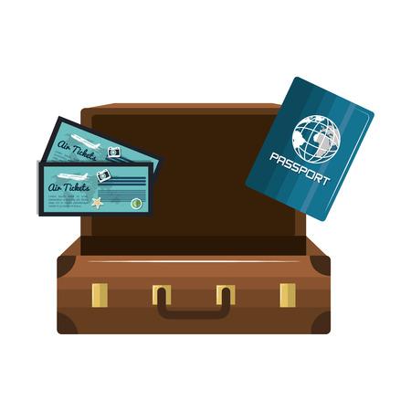 cartoon suitcase: cartoon suitcase passport tickets design