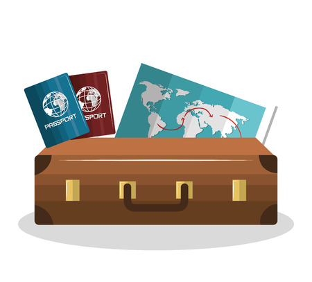 cartoon suitcase: cartoon suitcase with passport and map