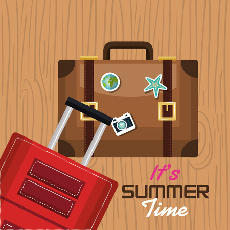 wave tourist: travel its time summer suitcase vacation design vector illustration Illustration