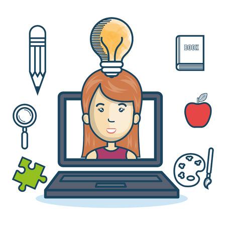 girl using laptop: laptop woman education online concept design vector illustration Illustration