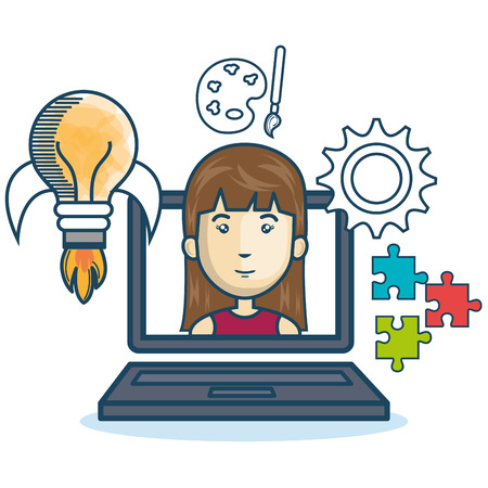 girl using laptop: laptop woman education online concept design vector illustration Illustration