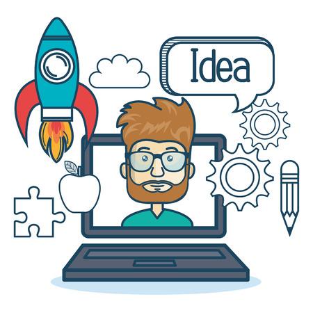 man with laptop: laptop man education online concept vector illustration