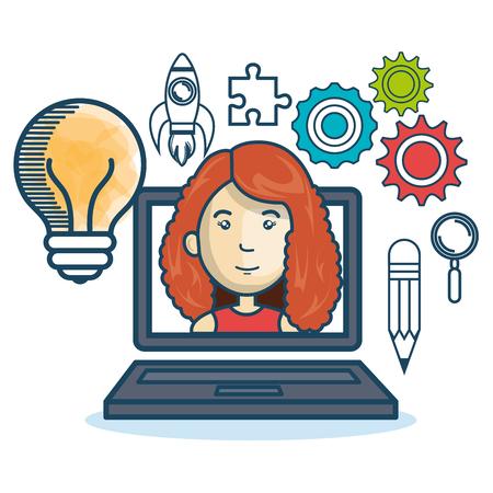 cretive: laptop woman education online concept design vector illustration Illustration