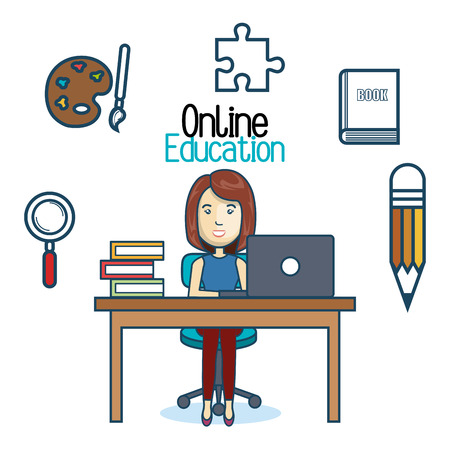 woman laptop: education online woman desk laptop vector illustration Illustration