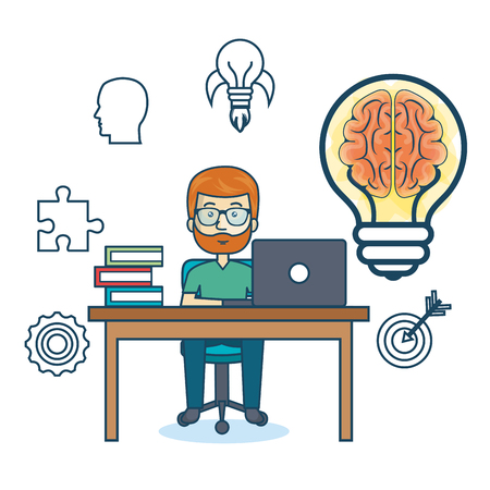 man with laptop: education online man desk laptop vector illustration