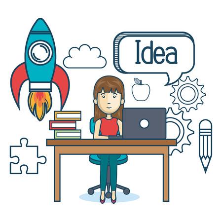 using laptop: education online woman desk laptop vector illustration Illustration