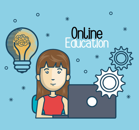 girl laptop: girl education online with laptop design vector illustration