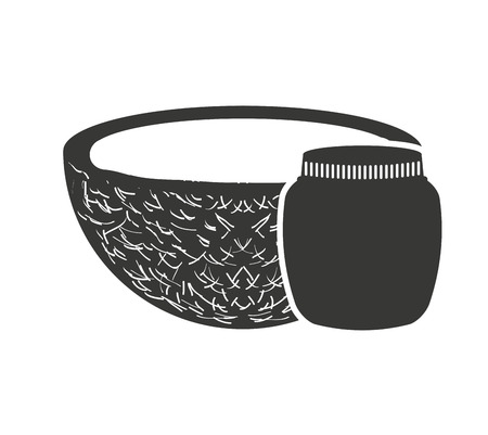 canned: canned fruit in mason jar monochrome silhouette vector illustration design