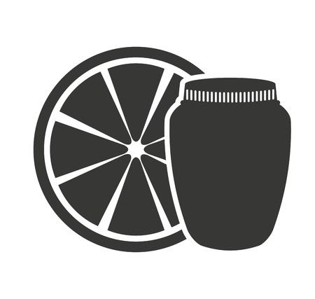canned fruit in mason jar monochrome silhouette vector illustration design
