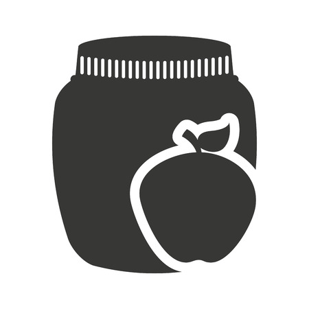 canned fruit: canned fruit in mason jar monochrome silhouette vector illustration design