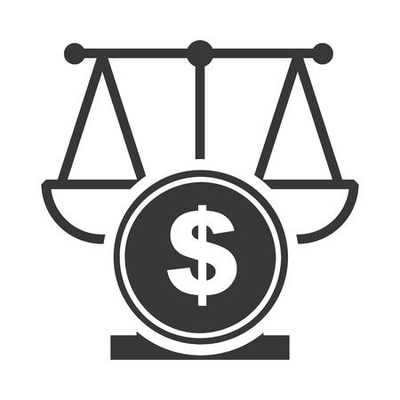 house exchange: scale balance with economy icon vector illustration design Illustration