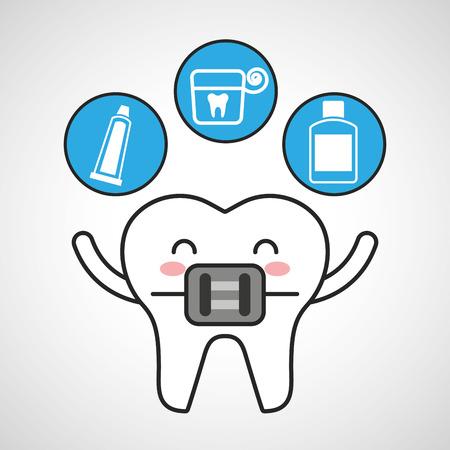 enjuague bucal: dental healthcare equipment flat icons vector illustration design Vectores