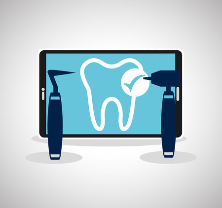 dental healthcare online icon vector illustration design Illustration