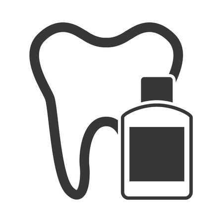 tooth silhouette with dental care icon vector illustration design