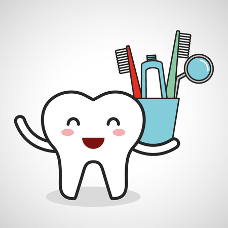 dental healthcare equipment flat icons vector illustration design Illustration
