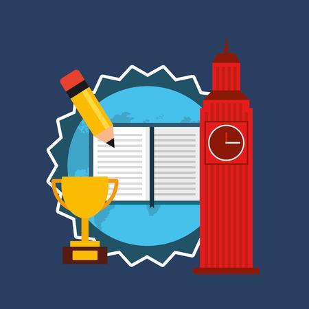 leccion: aprender iconos de la educación ilustración vectorial de diseño Inglés