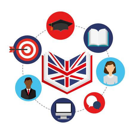 egresado: learn english education icons vector illustration design
