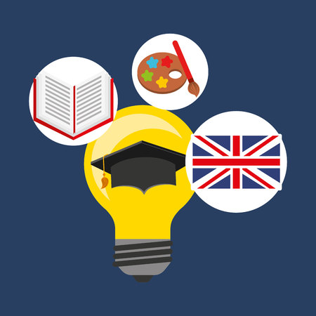 graduated: learn english education icons vector illustration design