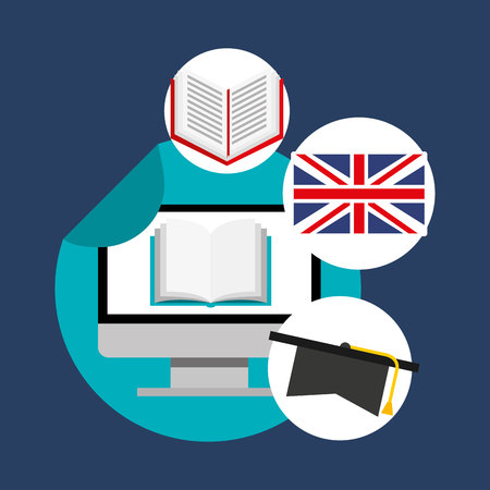 learn english online icon vector illustration design