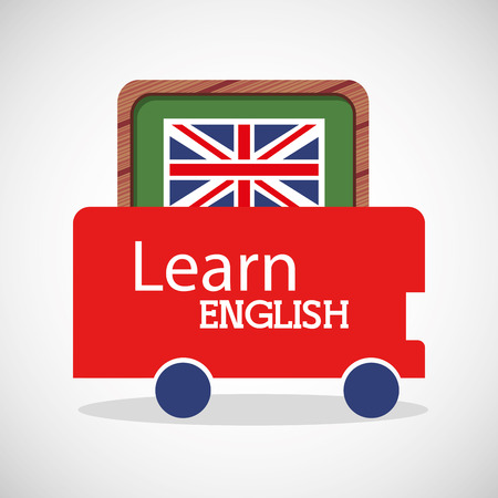 greenboard: learn english education icons vector illustration design