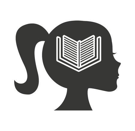 head profile human with education icon vector illustration design