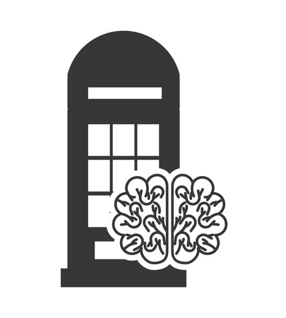 phonebox: london telephone cabin with education icon vector illustration design