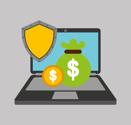 savings security online flat icons vector illustration design