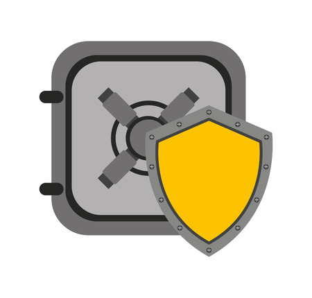 danger box: shield security system flat icon vector illustration design Illustration