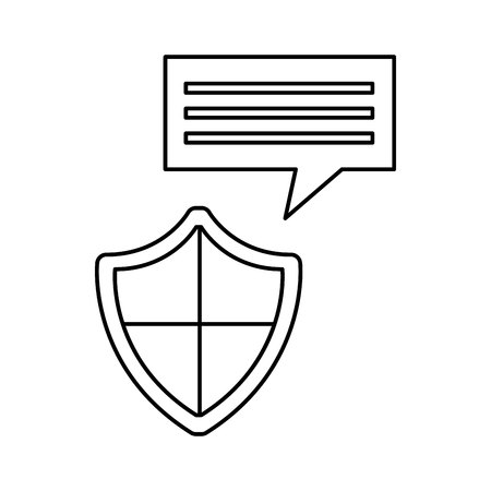 detected: shield security system flat icon vector illustration design Illustration