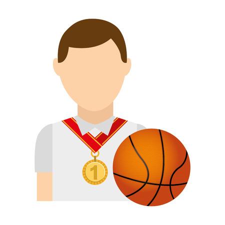 balon de basketball: Ganador medalla de primer lugar deporte ilustración vectorial de diseño
