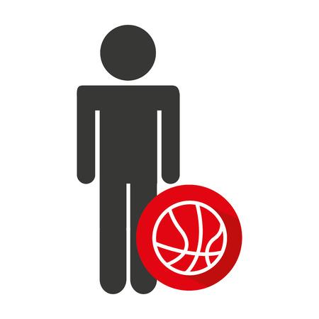 balon baloncesto: avatar silhouette athlete icon vector illustration design