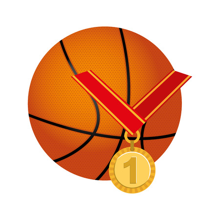 balon baloncesto: medalla de primer lugar del campeonato ilustración vectorial de diseño