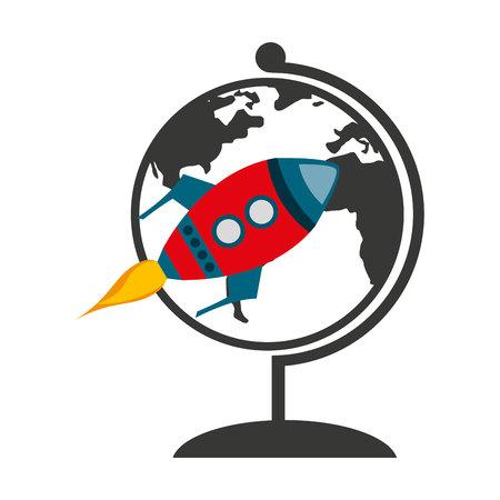 launcher: world planet with rocket launcher vector illustration design