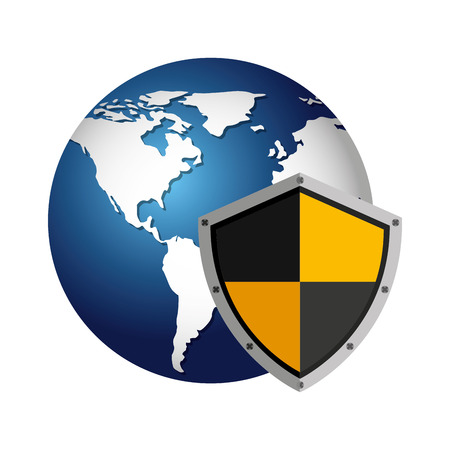 advocacy: world planet with shield guard icon vector illustration design Illustration