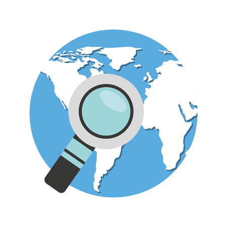 world planet with magnifying glass vector illustration design