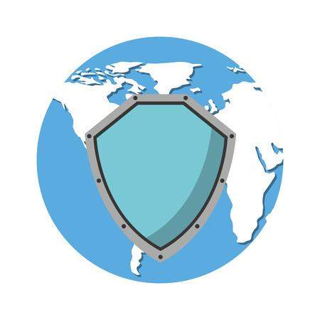 world planet with shield guard icon vector illustration design Illustration