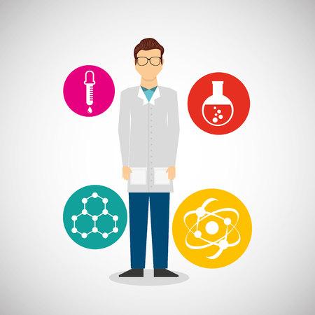 scientific laboratory worker concept vector illustration design