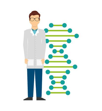 researcher: scientific laboratory worker concept vector illustration design
