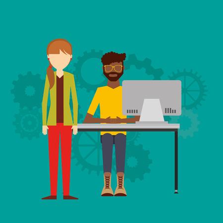 design office: teamwork office computer icon vector illustration design